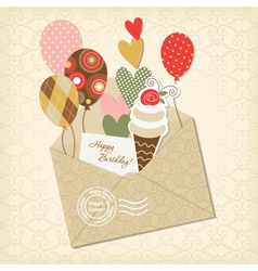 birthday card and scrapbooking elements vector image vector image