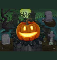halloween pumpkin is smiling on cemetery vector image vector image
