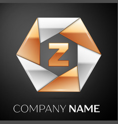 letter z logo symbol in the colorful hexagon on vector image vector image