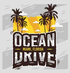 ocean drive miami beach florida summer design with vector image vector image