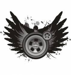 grunge winged wheel vector image
