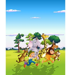 Animals and farmer vector image vector image
