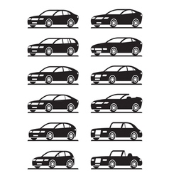 Different modern cars in angle vector image
