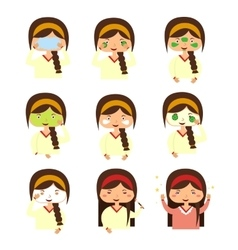 Facials Instructions to Wash Face of Woman vector image vector image