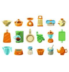kitchenware sett kitchen utensils cookware for vector image vector image