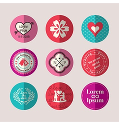 Modern Style Wedding symbol flat design icon set vector image vector image