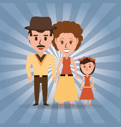Retro family parents with their daughter vector