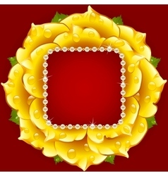 yellow Rose circle frame vector image vector image