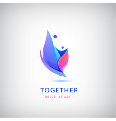 2 person logo love support two people vector