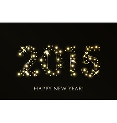 2015 Happy New Year background with gold sparkles vector