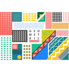 abstract bundle bright geometric pattern memphis vector image