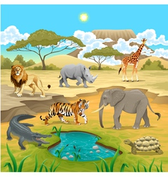 african animals in nature vector image