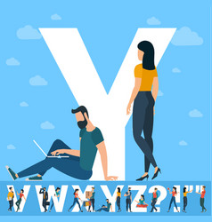 big y letter white letter with young people vector image