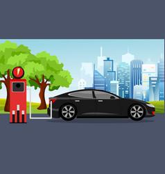 black electric car vector image