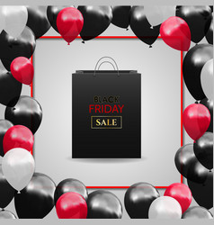black friday advertising poster with balloons and vector image