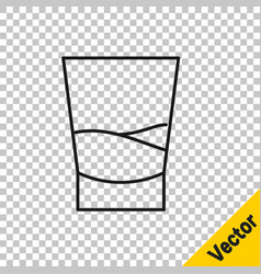 black line glass vodka icon isolated on vector image