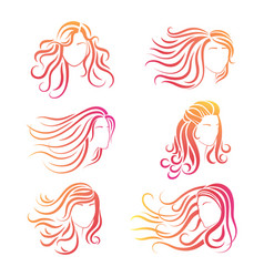 bright female heads silhouettes for logos design vector image