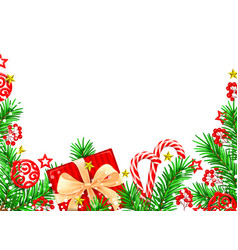 Christmas background with spruce and decorations vector
