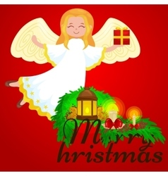 christmas holiday flying angel with wings and vector image vector image