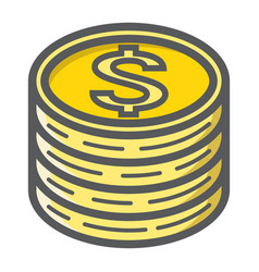 Coins of dollar filled outline icon business vector