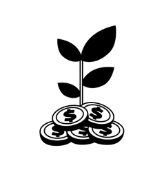 Coins plant isolated icon vector