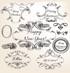 collection hand drawn flourishes engraved style vector image