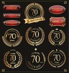 Collection of anniversary retro laurel wreats 70 vector