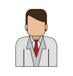 Color graphic half body faceless man with vector