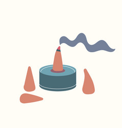 Combustible incense in form a cone emits vector