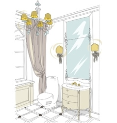 Contemporary interior doodles bathroom vector
