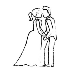 Couple wedding love kiss sketch vector