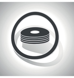 Curved CD stack sign icon vector