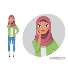 cute shy muslim girl muslim young woman wearing vector image