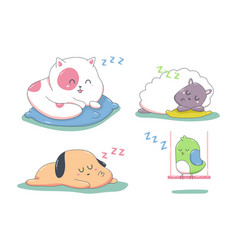 cute sleeping animals cartoon characters se vector image