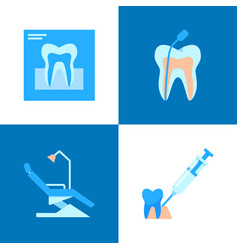Dental treatment icon set in flat style vector