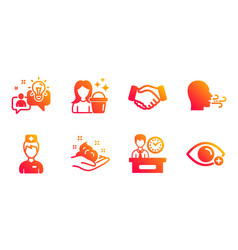 Doctor handshake and breathing exercise icons set vector