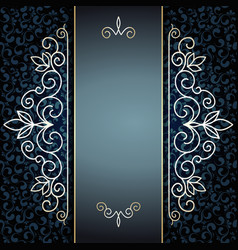 elegant golden pattern on blue vector image