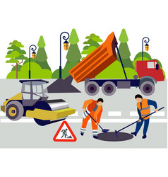Employees road works equipment and materials vector