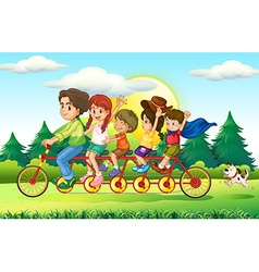 Family members riding bike in the park vector