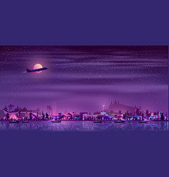 fishing village on seashore neon cartoon vector image