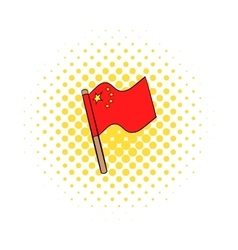 Flag of China icon in comics style vector image