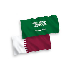 Flags saudi arabia and qatar on a white vector