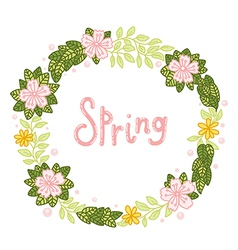Floral wreath with leaves and flowers vector