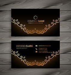 Golden floral business card vector