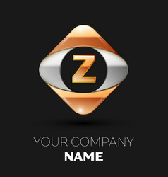 golden letter z logo in the golden-silver square vector image