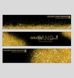 golden sand on black banner collection vector image