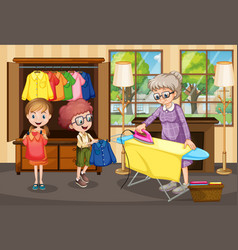 Grandmother ironing clothes for children vector