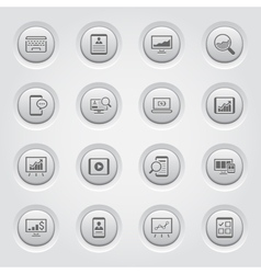 Grey Button Design Icon Set vector image