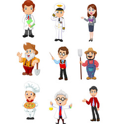Group of people with different professions vector