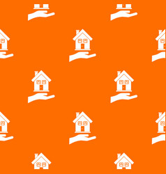 hand holding house pattern seamless vector image